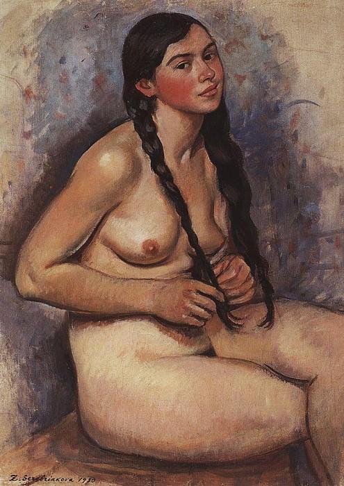 Заплетающая косу. Зинаида Евгеньевна Серебрякова