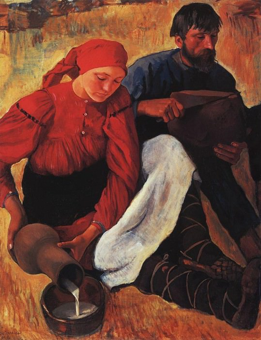 The peasants. Dinner. Zinaida Serebryakova