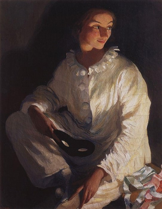 Pierrot. Self-portrait in costume Pierrot. Zinaida Serebryakova