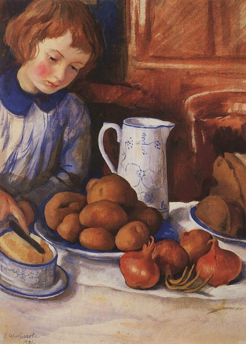 Katya at the kitchen table. Zinaida Serebryakova