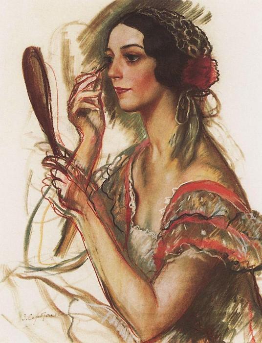 In the dressing room V. K. Ivanova portrait dressed as a Spanish. Zinaida Serebryakova