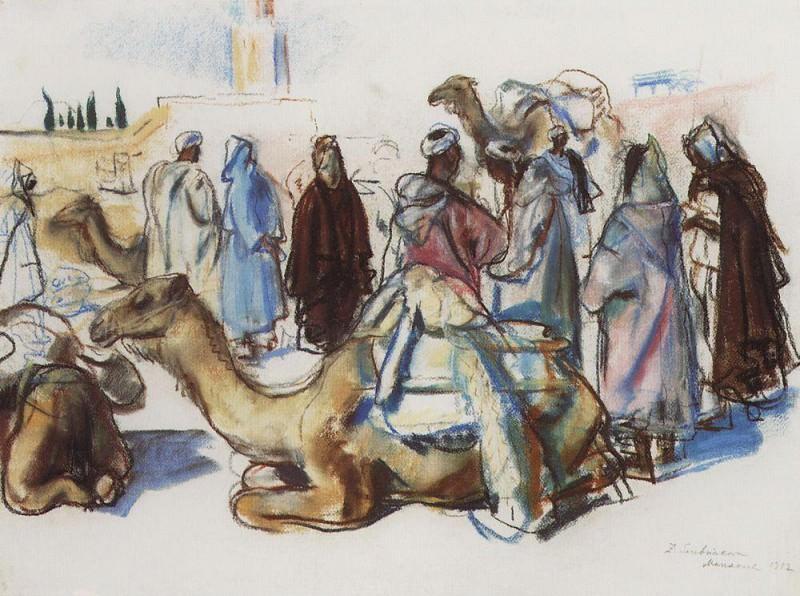 The market with camels Marrakesh. Zinaida Serebryakova