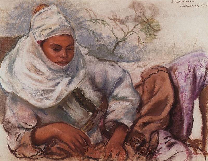 Молодая женщина в белом головном уборе. Зинаида Евгеньевна Серебрякова