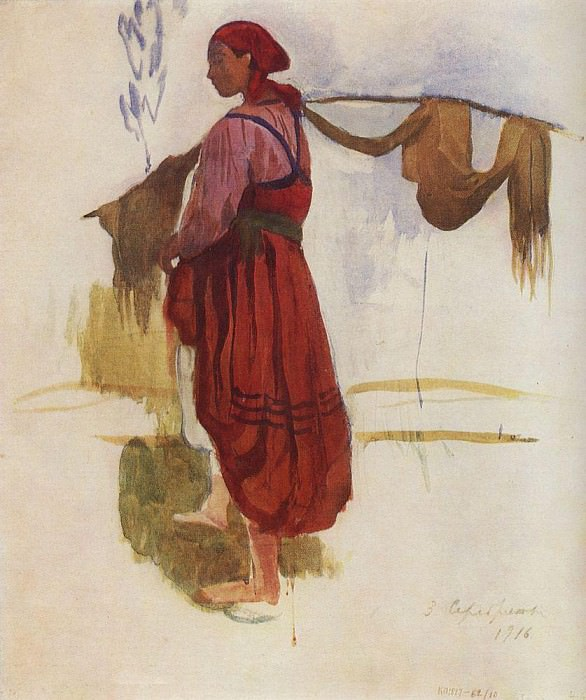 A woman with a yoke. Zinaida Serebryakova