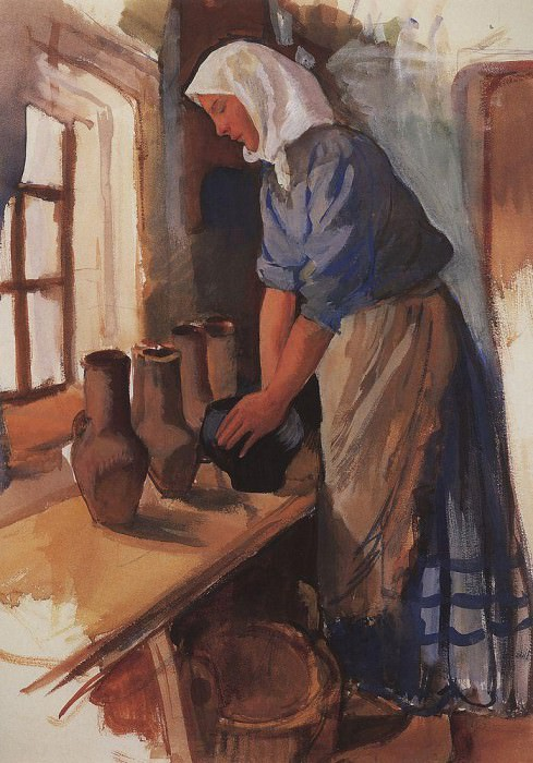 The peasant woman with pots. Zinaida Serebryakova