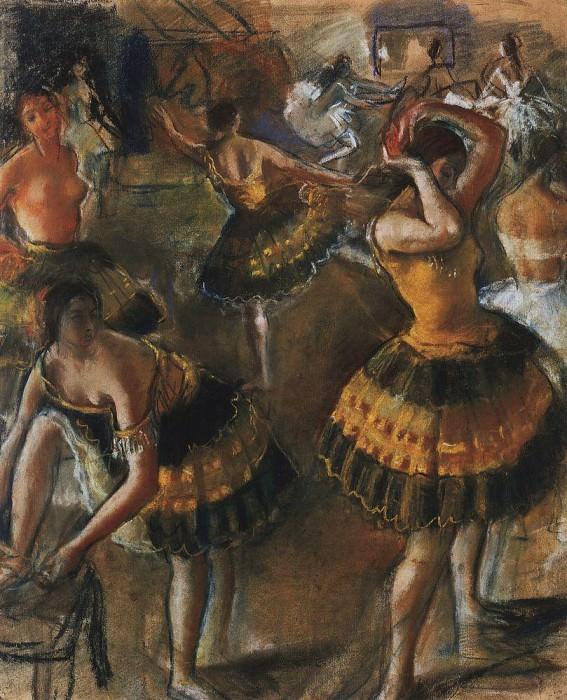 Ballerinas in the restroom. Zinaida Serebryakova
