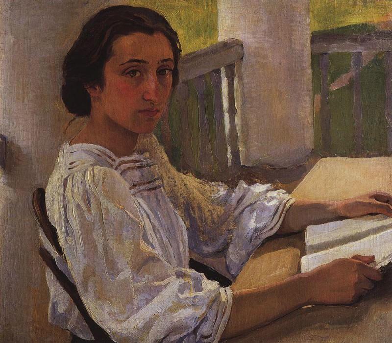 Portrait of M. E. Solntseva, sister of the painter. Zinaida Serebryakova