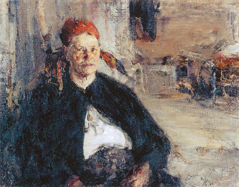 Баба на сундуке (1910-е). Николай Иванович Фешин