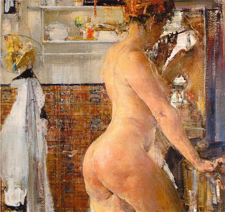Обнаженная в ванной комнате (1916). Nikolay Feshin