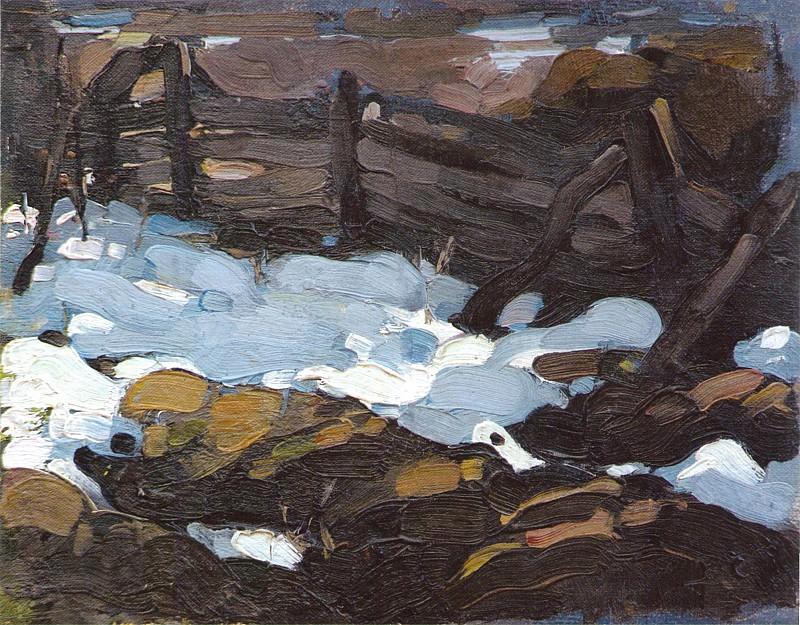 Зимний пейзаж (с плетнем) (1900-е). Николай Иванович Фешин