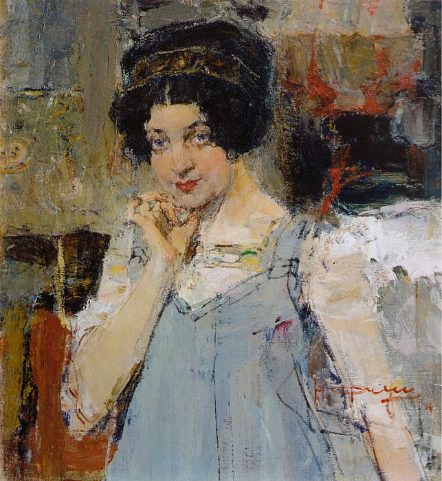 Портрет жены архитектора Сидорченко (1915). Nikolay Feshin