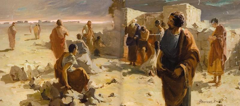 Выход из катакомб после моления (1903). Nikolay Feshin
