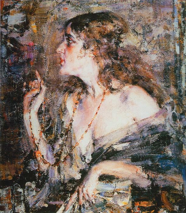 Русская девушка (Портрет Ариадны Микешиной) (1923—1926). Nikolay Feshin