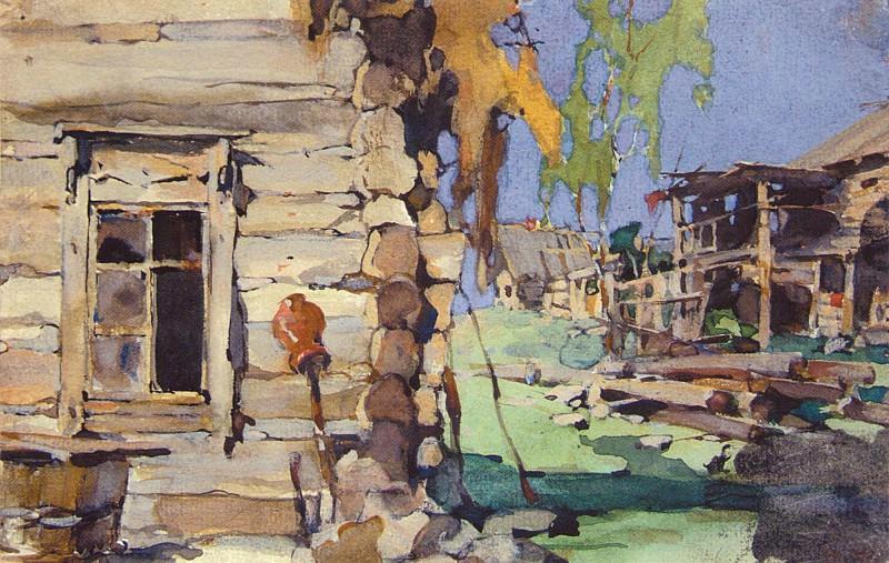 Уличный деревенский вид (задник). Иллюстрация к книге 3.М.Славяновой (1921). Николай Иванович Фешин