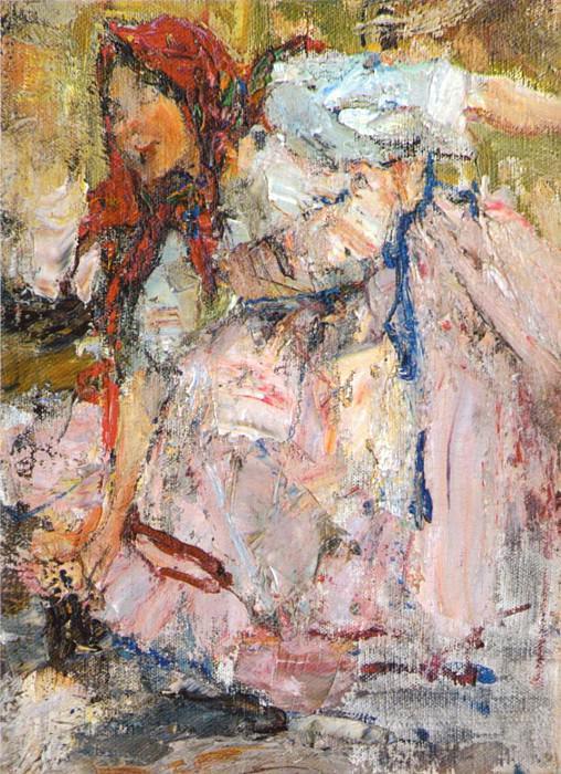 Баба в красном платке. Этюд к картине Обливание (1911 — 1914). Nikolay Feshin