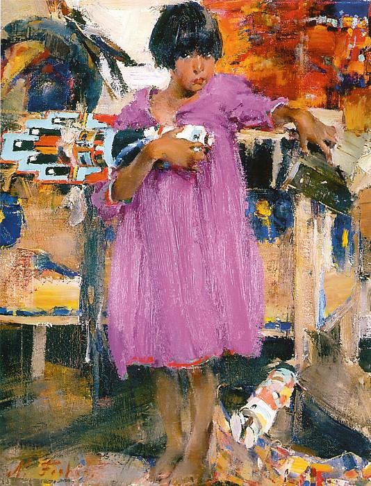 Девочка в фиолетовом платье (1927—1933). Николай Иванович Фешин