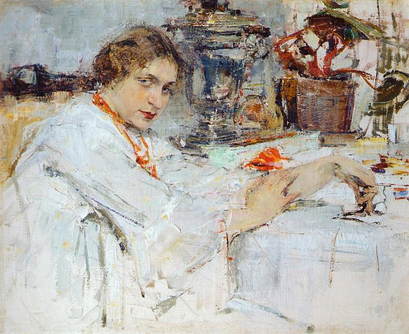 За самоваром. Портрет О.М.Ясеневой (1913). Николай Иванович Фешин