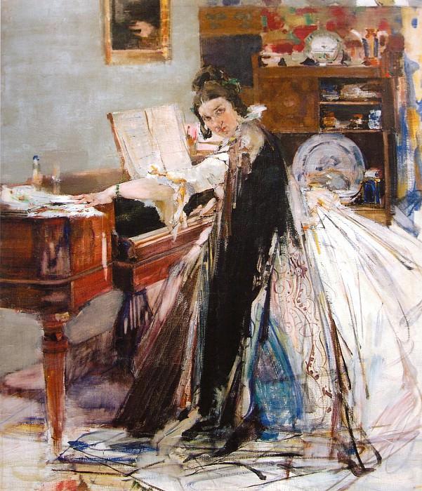 Портрет Н.М.Сапожниковой (у рояля) (1916). Nikolay Feshin