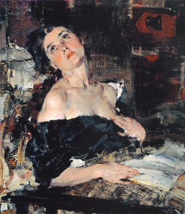 Дама в черном (Портрет А.Н.Фешиной) (1924). Nikolay Feshin