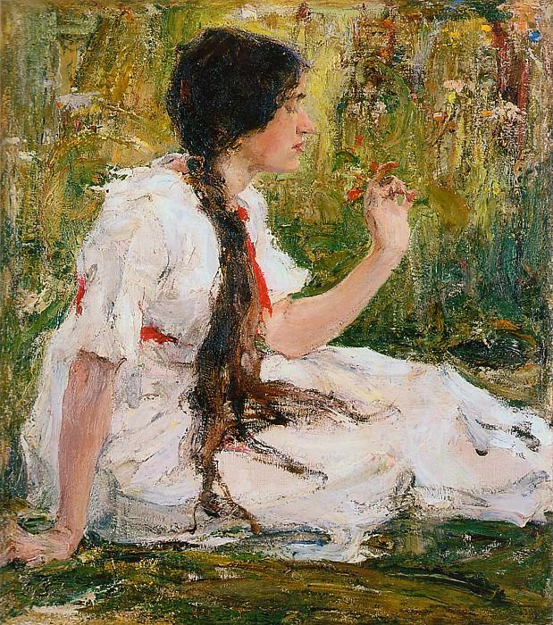 Весна в степи (Портрет А.Н.Фешиной) (1913). Nikolay Feshin