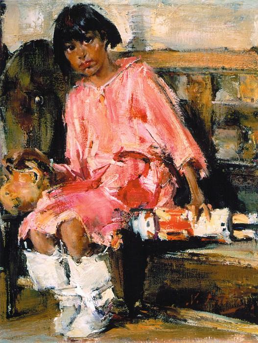 Мануэлита с качиной — ритуальной игрушкой (1927—1933). Николай Иванович Фешин