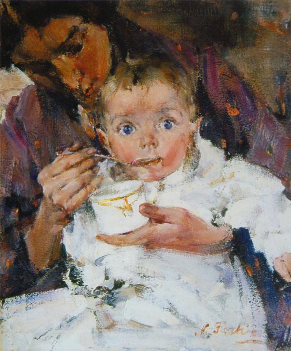 Мать и дитя (Портрет А.Н.Фешиной с дочерью) (1914). Николай Иванович Фешин