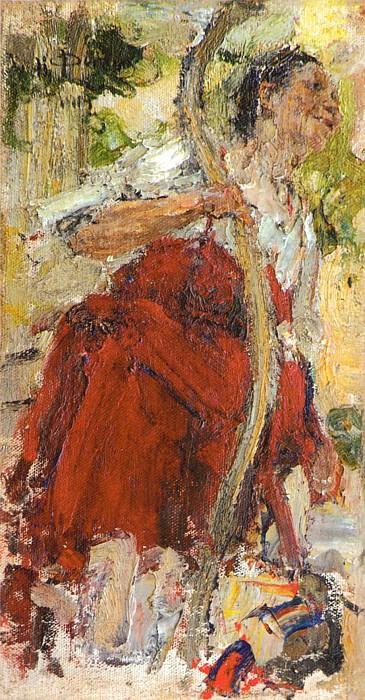 Баба с коромыслом. Этюд к картине Обливание (1914). Николай Иванович Фешин