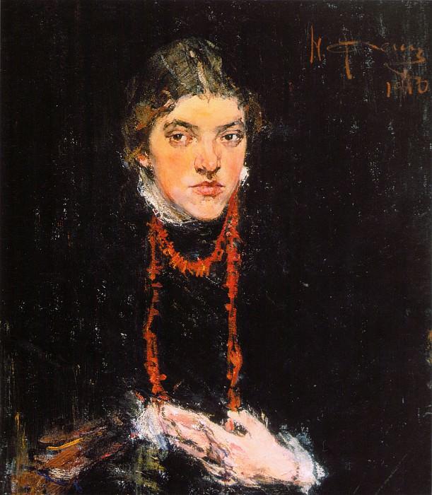 Коралловые бусы (Портрет Александры Белькович) (1910). Nikolay Feshin