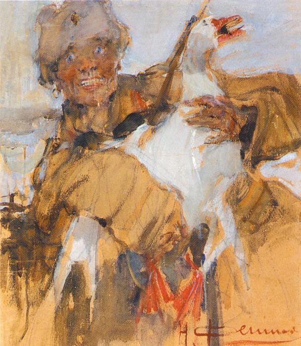 Казак с гусем (1915). Николай Иванович Фешин