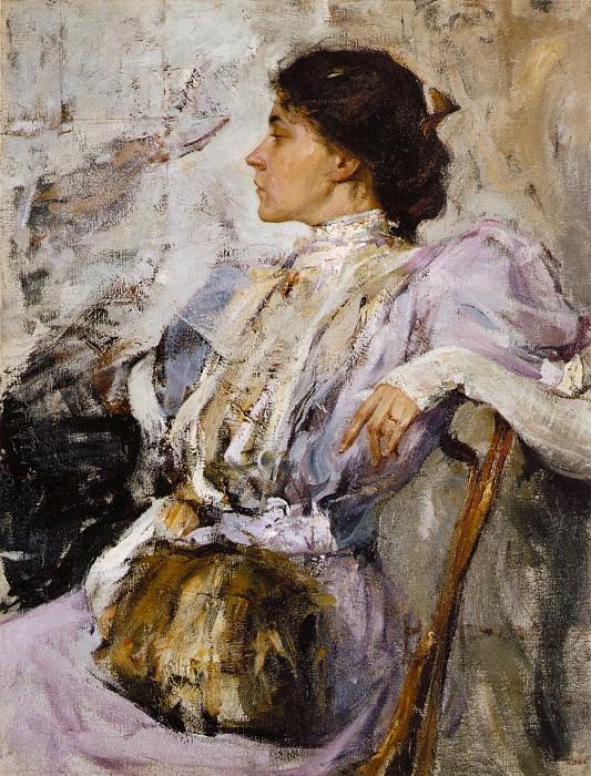 Портрет неизвестной (Дама в лиловом). Этюд (1908). Nikolay Feshin