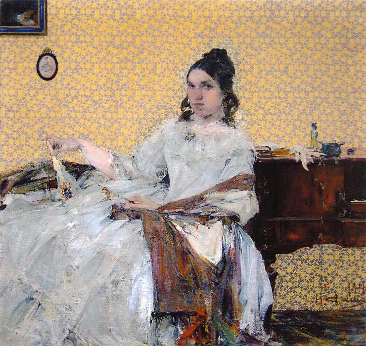 Портрет Н.М.Сапожниковой (на фоне обоев) (1916). Nikolay Feshin