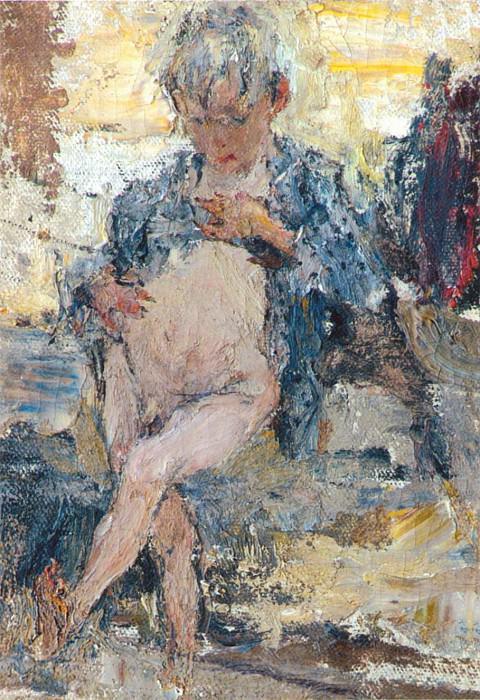 Мальчик с голым животом. Этюд к картине Обливание (1911 —1914). Nikolay Feshin