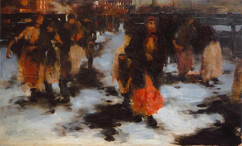 Выход с фабрики (1904). Николай Иванович Фешин