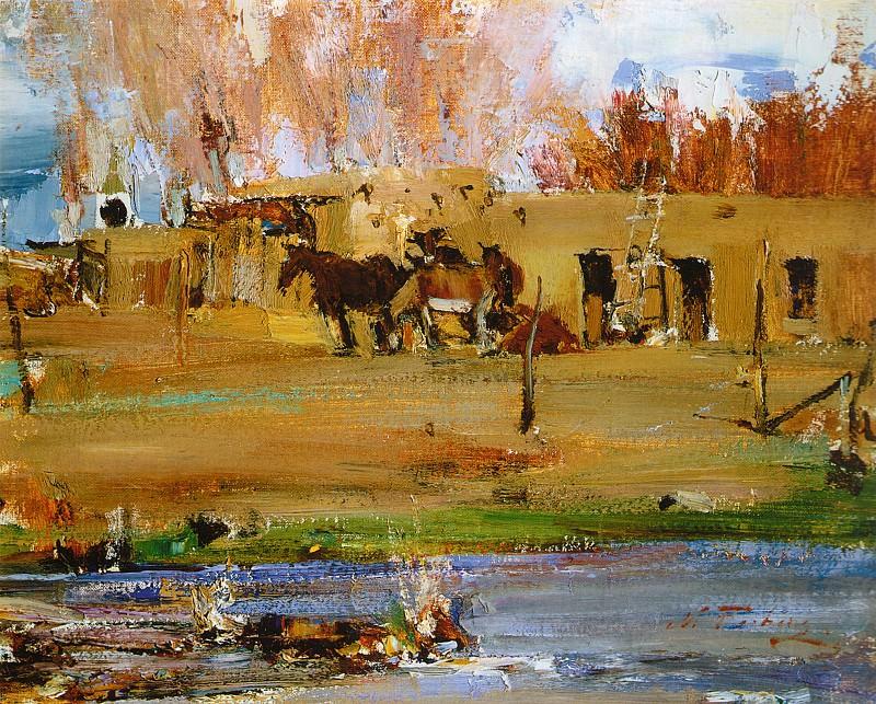 Лошади перед адобе (1927—1933). Nikolay Feshin