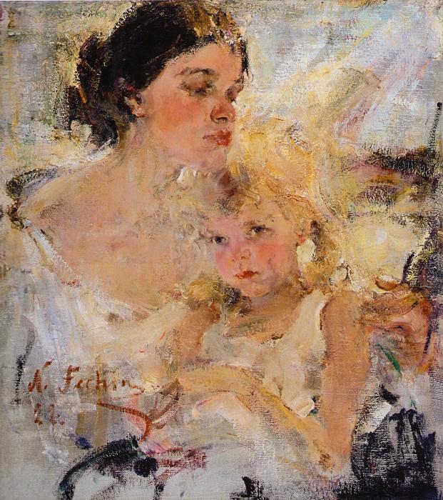 Миссис Фешина с дочерью (1922). Nikolay Feshin