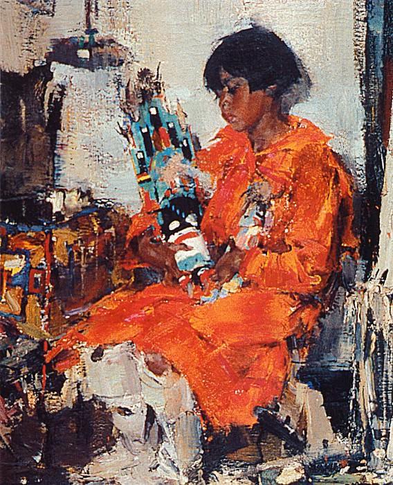 Мануэлита с качиной — ритуальной игрушкой (Сидящая индейская девочка) (1927—1933). Николай Иванович Фешин