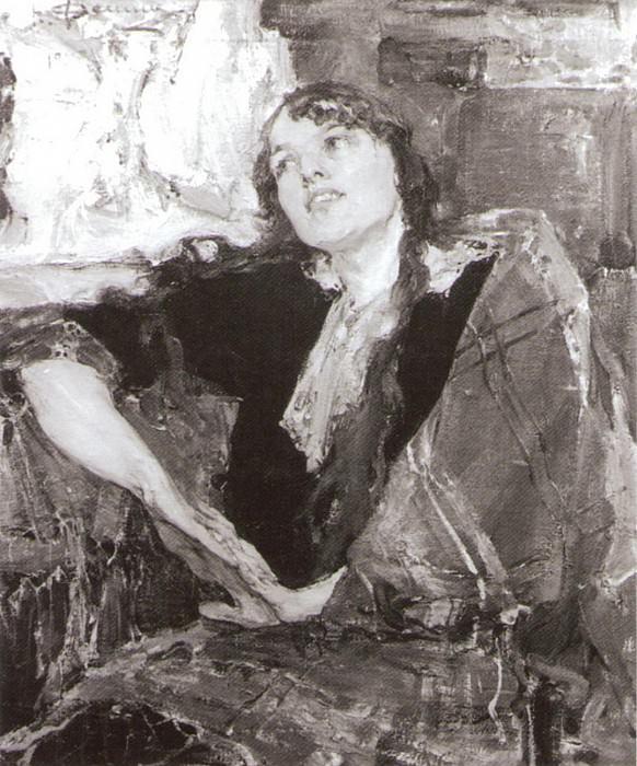Девушка с клетчатым платком (1915). Николай Иванович Фешин