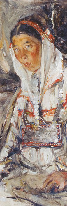 Портрет неизвестной (этюд к картине Черемисская свадьба) (1908). Николай Иванович Фешин