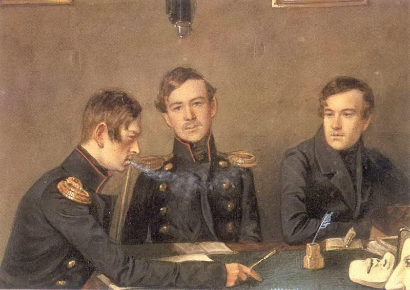 Групповой портрет Андрея, Григория и Александра Васильевичей Дружининых. 1840-е. Pavel Fedotov