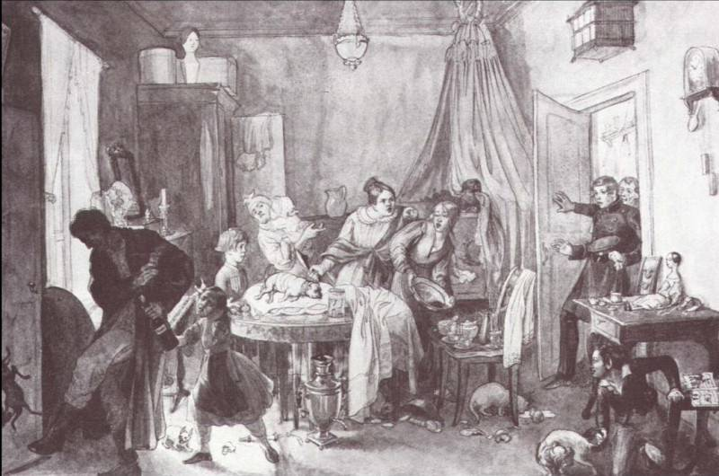 Кончина Фидельки. 1844. Pavel Fedotov