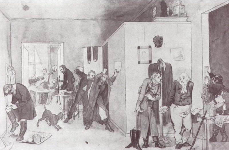 Офицерская передняя. 1844. Pavel Fedotov