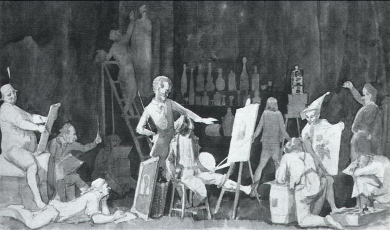 Бельведерский торс. Пьянство академистов. 1841. Pavel Fedotov