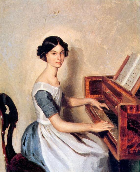Надежда Петровна Жданович (Вернер) за фортепиано. Павел Федотов