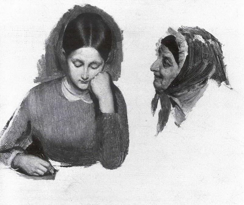 Девушка. Голова сводницы. Конец 1840-х. Pavel Fedotov