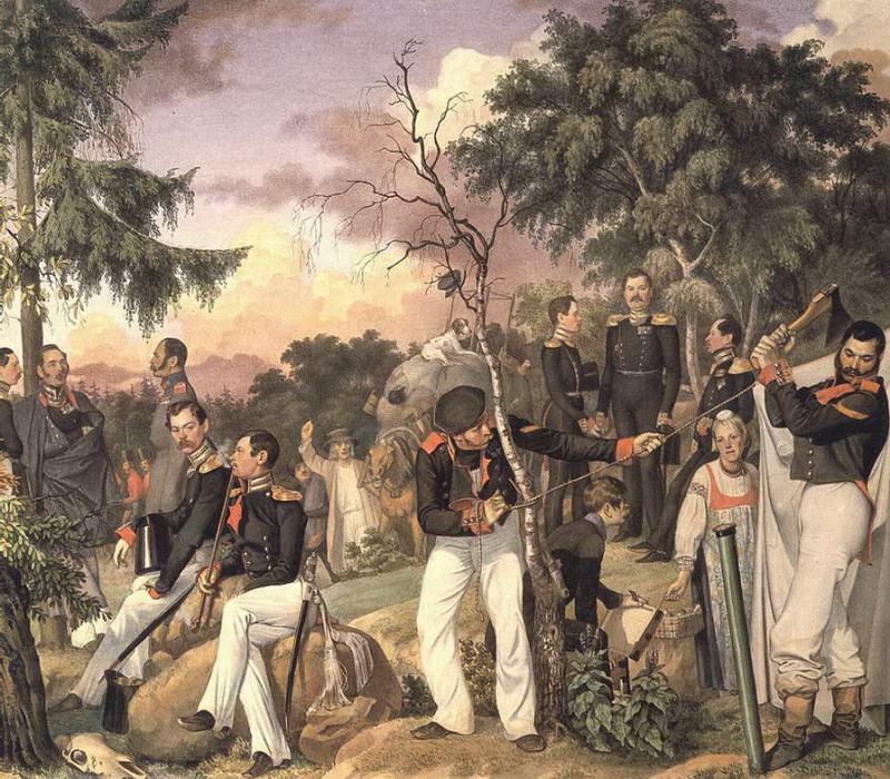 Бивуак лейб-гвардии гренадёрского полка. 1843. Pavel Fedotov