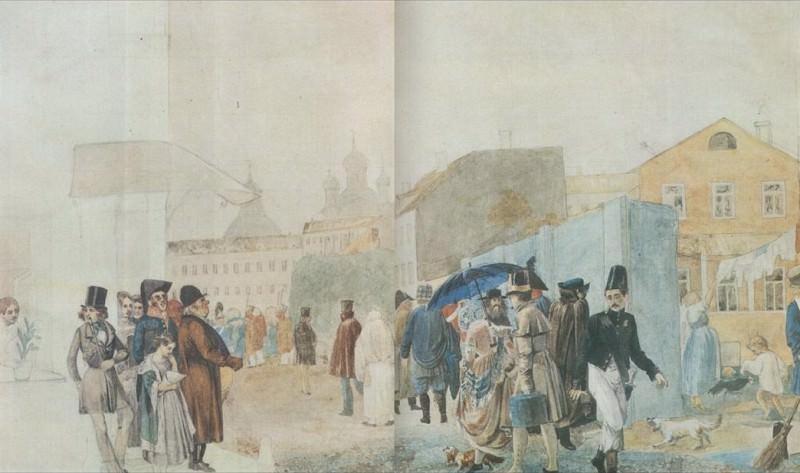 Уличная сцена в Москве во время дождя. 1837. Pavel Fedotov