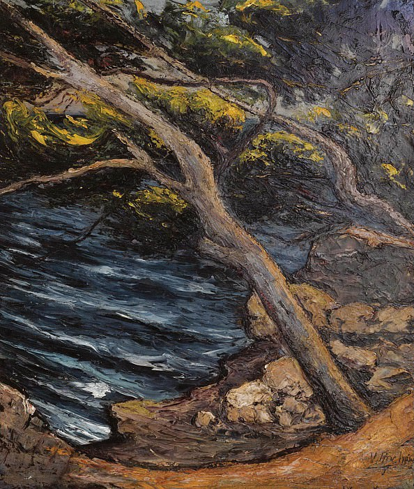 Lake landscape with trees. Vera Rockline