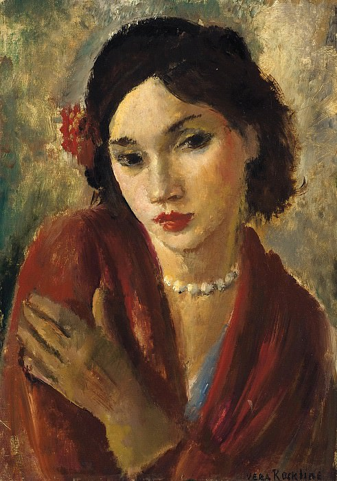 An elegant lady with a pearl necklace. Vera Rockline