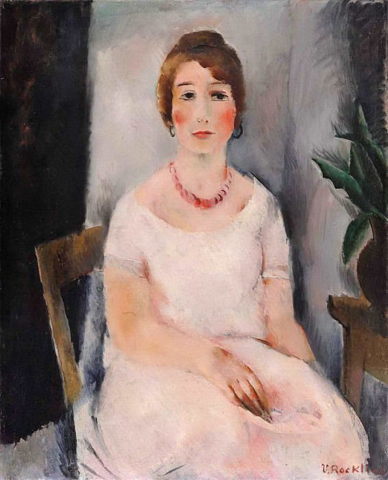 Portrait of a Woman in a Pink Dress. Vera Rockline