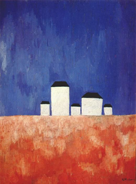 malevich landscape with five houses c1932. Kazimir Malevich